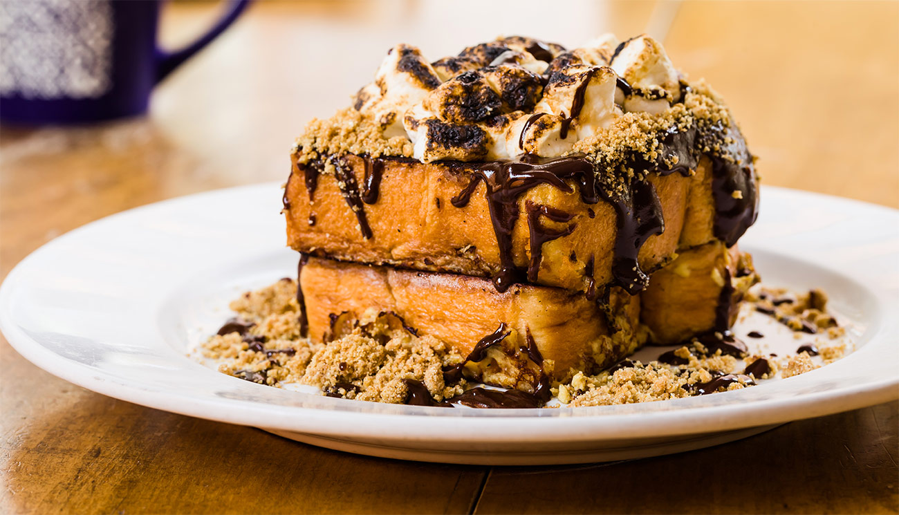 Smores french toast - chocolate, graham cracker, toasted marshamallow.